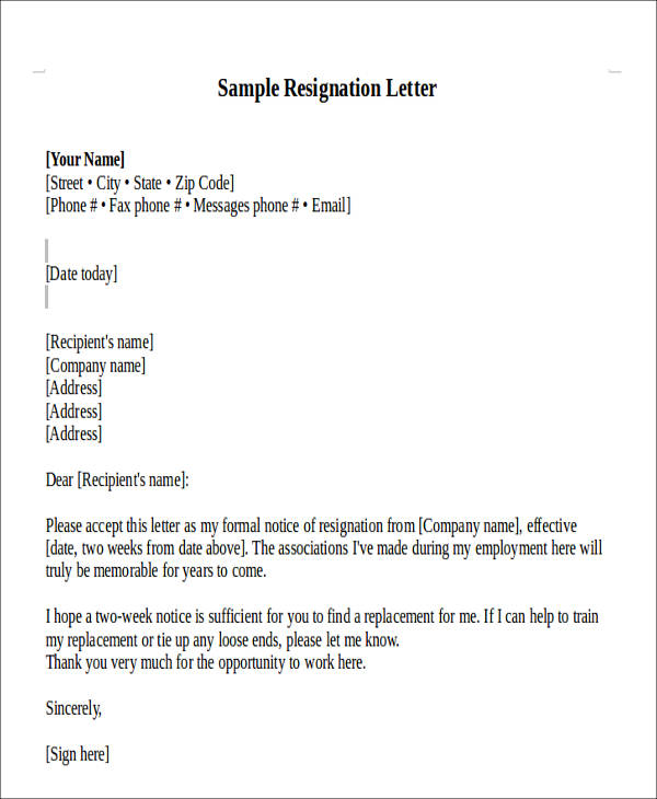 80+ Sample Letters Sample Templates - official resignation letter