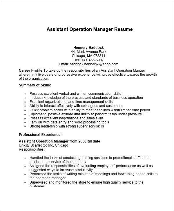 assistant manager logistics resume sample