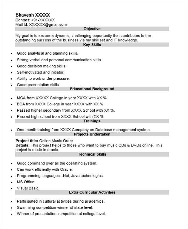 Oracle dba fresher resume sample George tucker resume