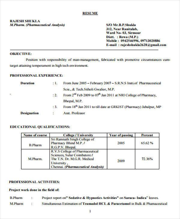 resume format pdf for b com freshers