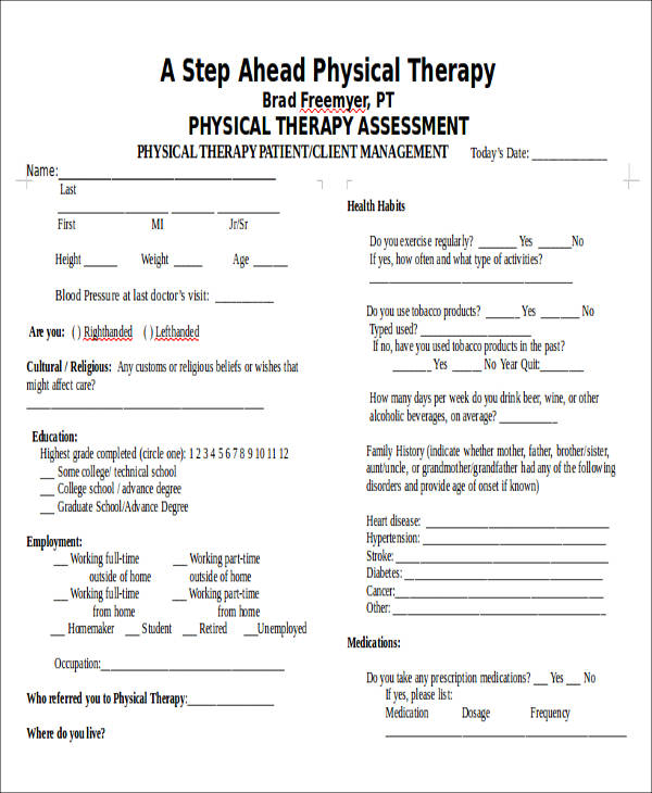 Physical Assessment Form Free Physical Assessment Form Download