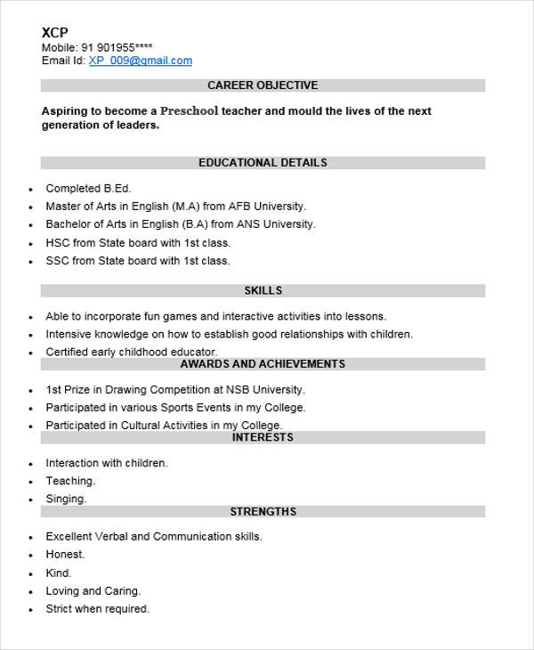 resume for nursery teacher fresher