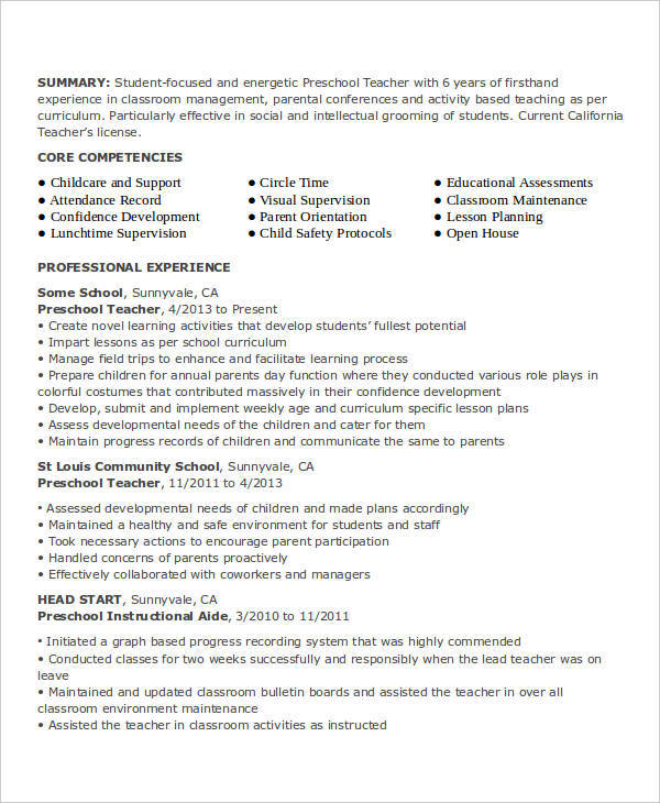 41+ Teacher Resume Formats Sample Templates - preschool director resume