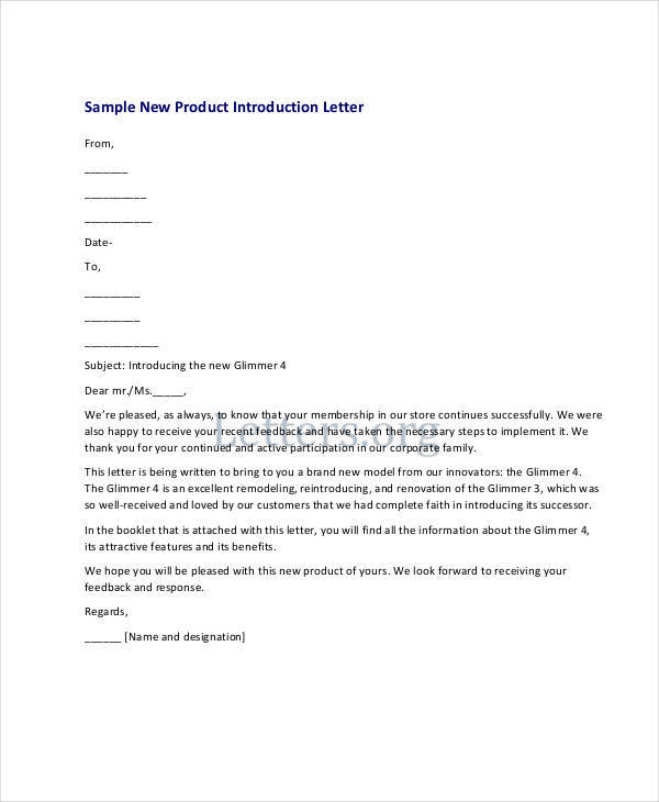 product introduction letters - Idealvistalist - introduction letter for new product