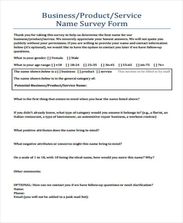54+ Printable Survey Forms Sample Templates