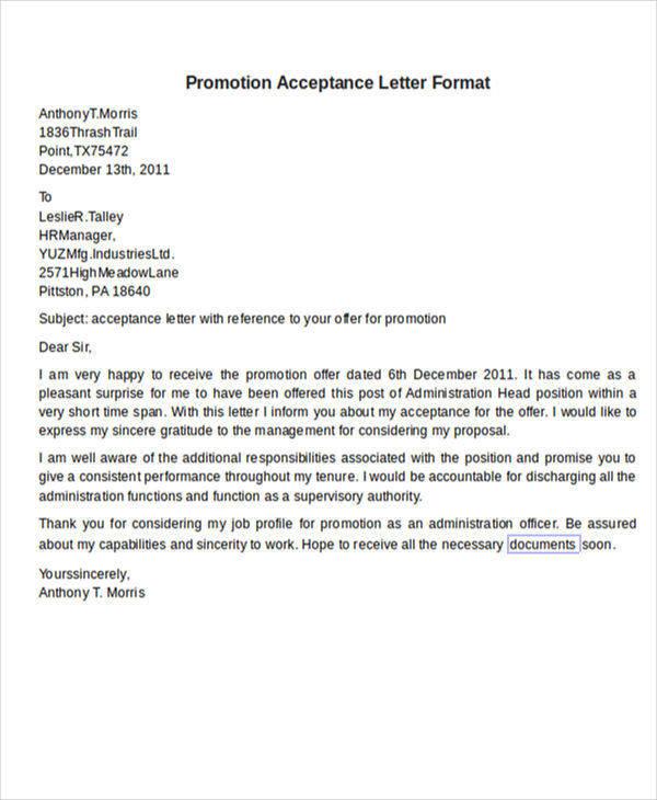 56+ Acceptance Letters Sample Templates