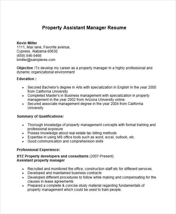 apartment manager resume assistant property manager cover letter