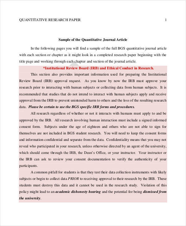 32+ Research Paper Examples Sample Templates - sample quantitative analysis