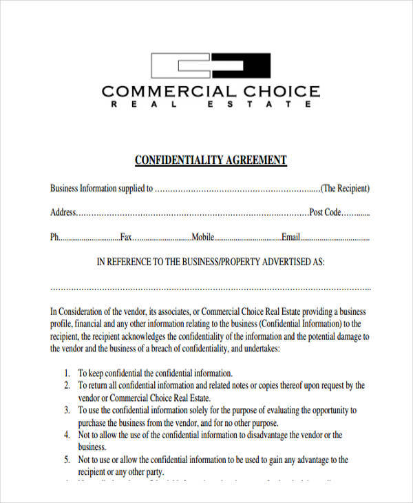 6+ Sample Real Estate Confidentiality Agreements Sample Templates - financial confidentiality agreements