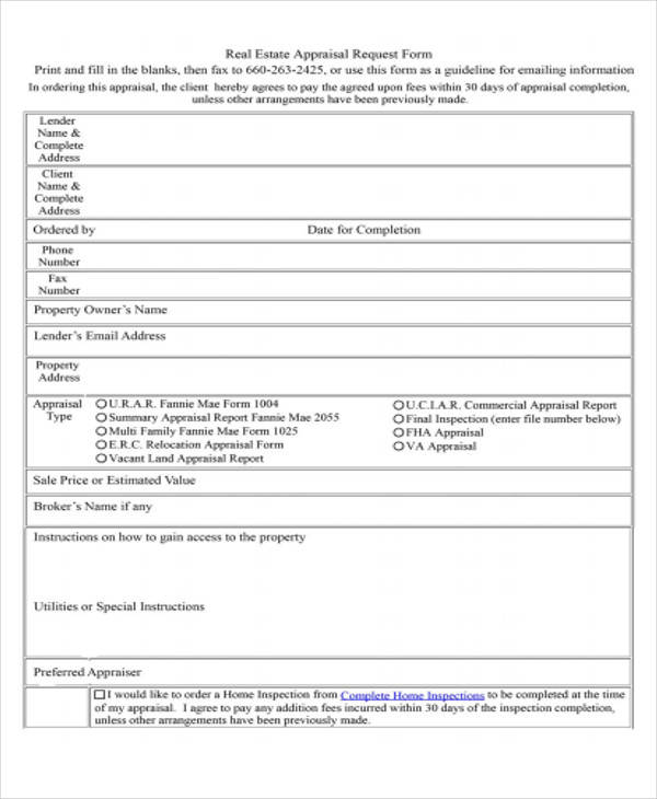 40+ Simple Appraisal Forms - appraisal order form