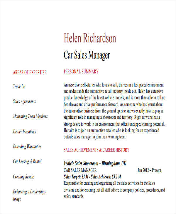 car salesman resume snapwit co