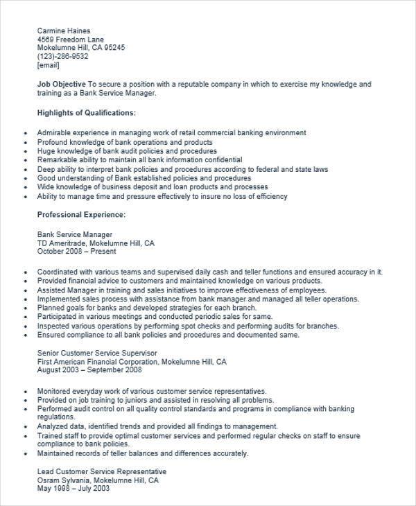 resume samples bank manager