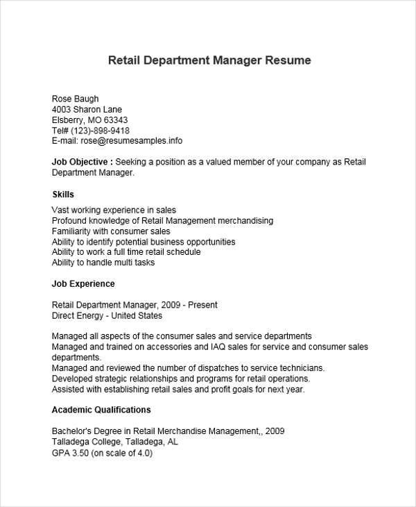 36+ Manager Resumes in Word Sample Templates - department manager resume