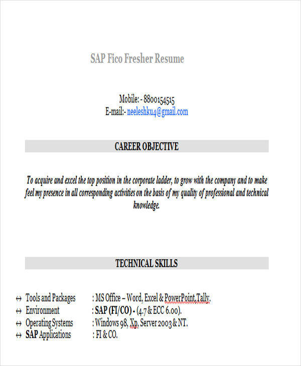 sap fico resume sample sample resume fresher free resume samples