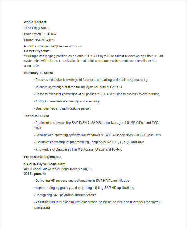 sap hr resume samples - Minimfagency - sap hr consultant sample resume