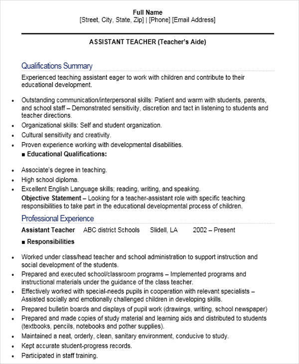 41+ Teacher Resume Formats Sample Templates - Reading Teacher Resume