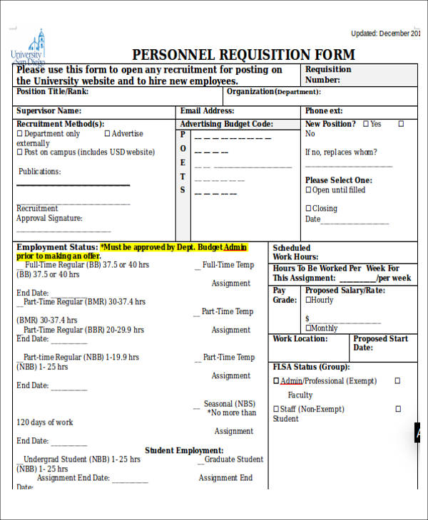 personnel requisition form sample - Ozilalmanoof