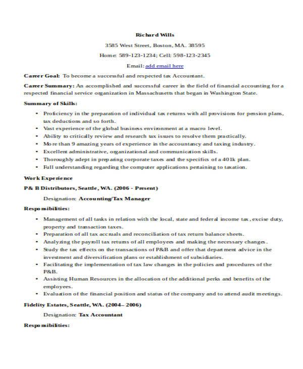 33 Accountant Resume Samples - tax accountant resume sample