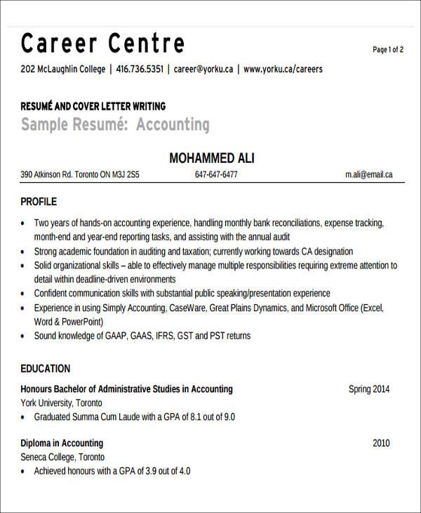 26+ Accountant Resume Format - tax accountant resume sample