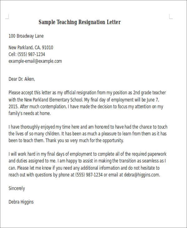 7+ Sample Teaching Resignation Letters Sample Templates