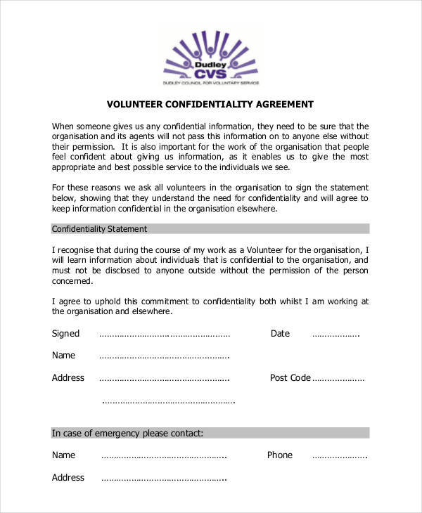 10 Volunteer Confidentiality Agreement - Free Sample, Example - confidentiality statement