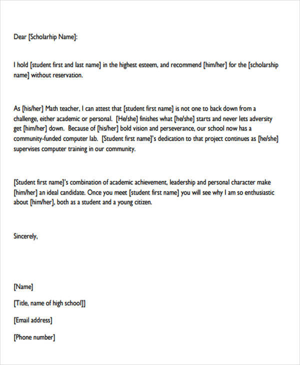 10+ Recommendation Letters for Scholarship - Free Sample, Example - scholarship recommendation letter sample