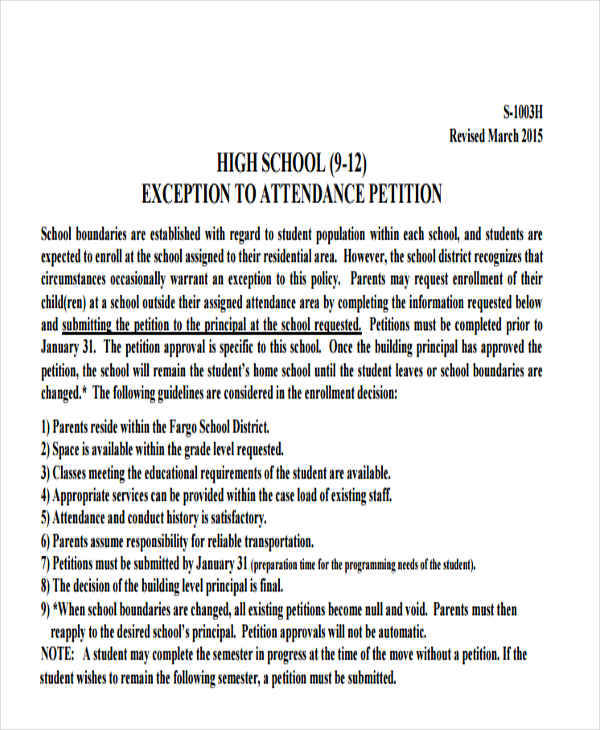 8+ School Petition \u2013 Free Samples, Examples, Formats Download - petition examples