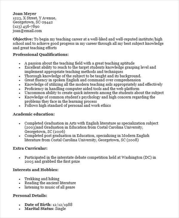 resume for school teacher job fresher