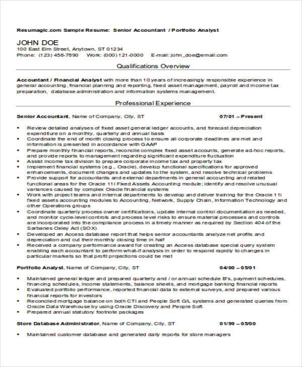 32+ Accountant Resume Samples Sample Templates
