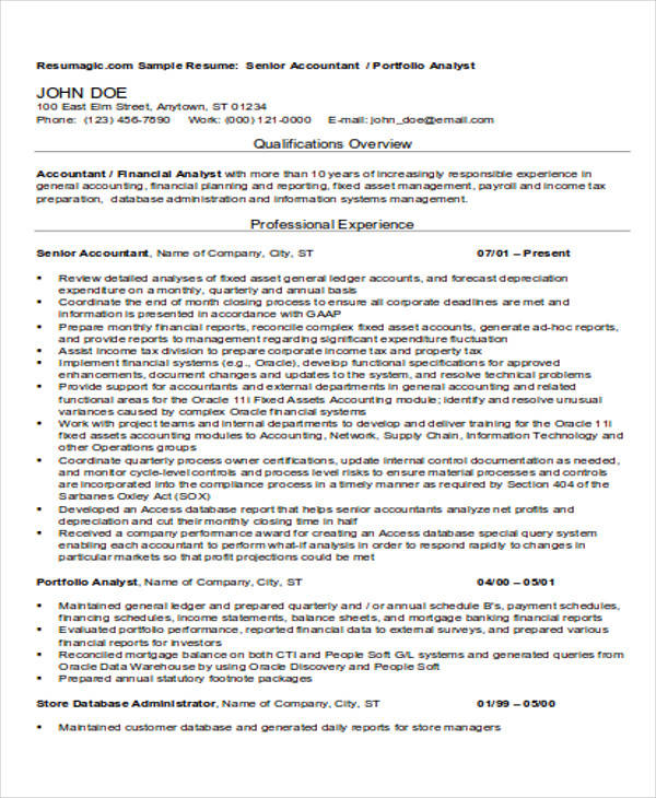 sample resume manufacturing accountant