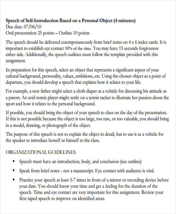 51+ Introduction Speech Samples \u2013 PDF, DOC Sample Templates