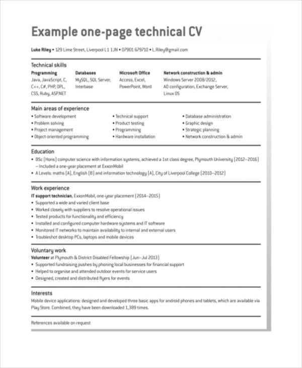 52 Resume Format Samples Sample Templates - one page resume format