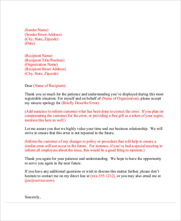 34+ Apology Letter Examples \u2013 PDF, Word, Pages Sample Templates