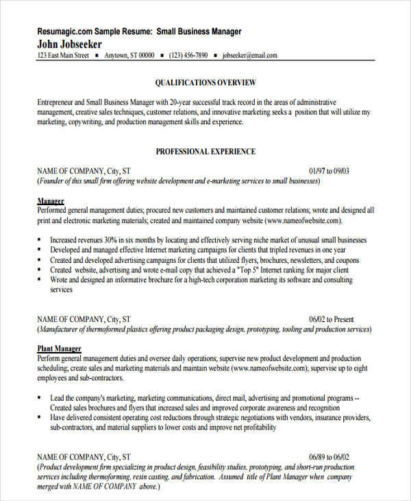 44+ Manager Resume Samples Sample Templates - business manager resume