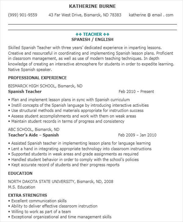 41+ Teacher Resume Formats Sample Templates