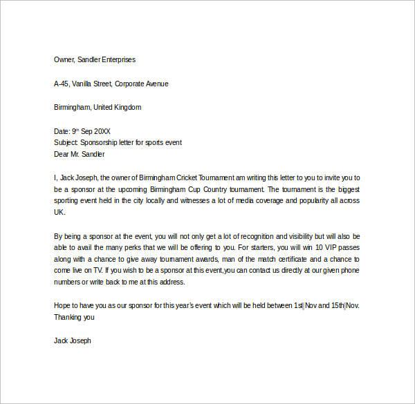 Sample Sponsor Thank You Letter - 26+ Download Documents in PDF, Word - event sponsorship letter sample