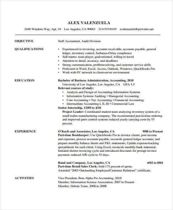 32+ Accountant Resume Samples Sample Templates - cost accountant resume