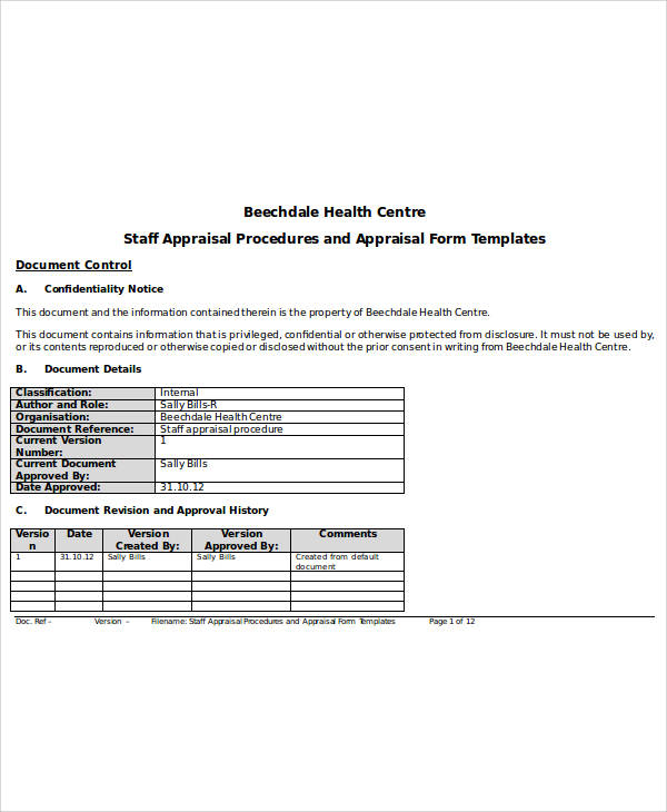 Appraisal Forms Templates performance appraisal forms for ms word – Sample Appraisal Form