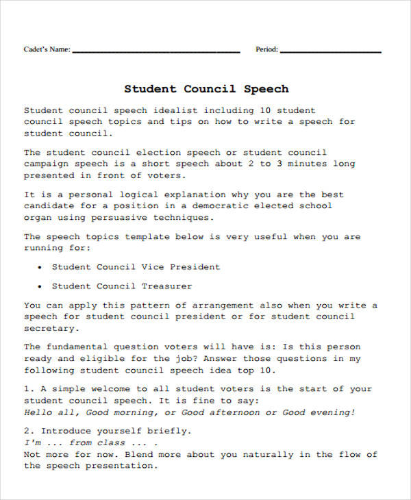 52 Introduction Speech Samples   Campaign Speech Example Template
