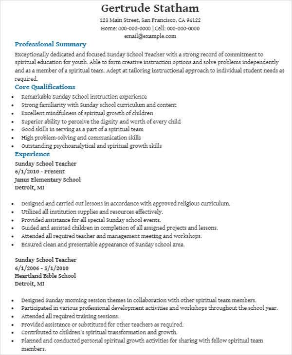 Sunday School Teacher Resume example sunday school teacher resume - sunday school teacher resume