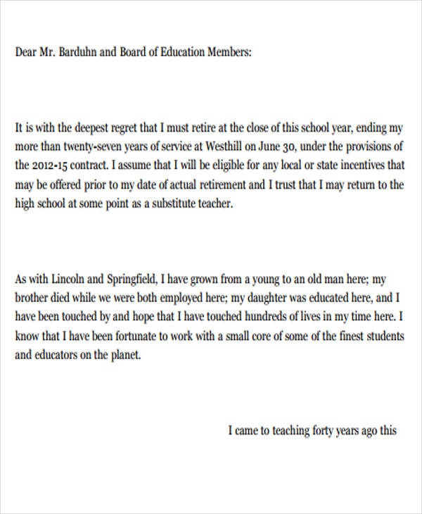 board resignation letter example