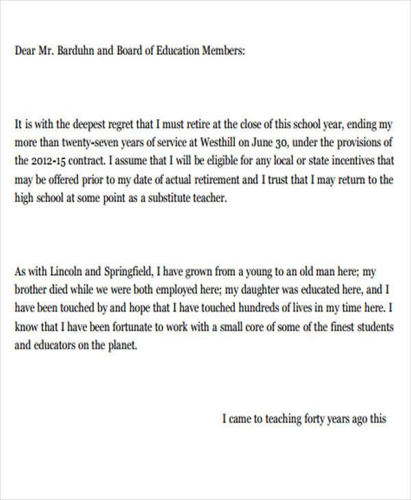 teacher resignation letters