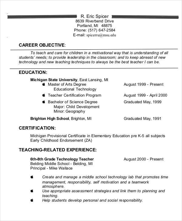 Resume Objective Statement Examples For Teachers - 40+ Teacher