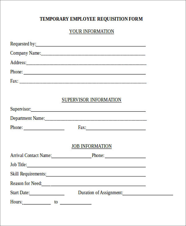 22+ Requisition Forms in Doc - employee requisition form