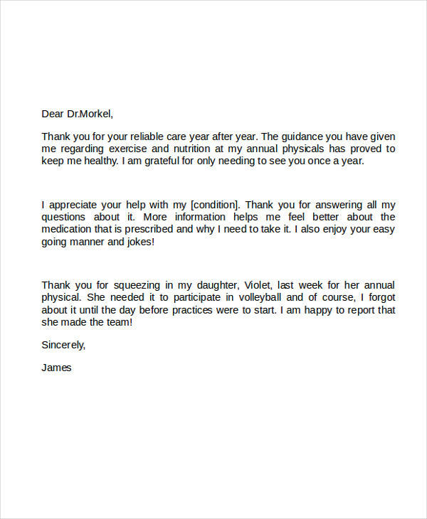 5+ Sample Thank-You Letter to Doctor Sample Templates - Thank You Letter To Doctor