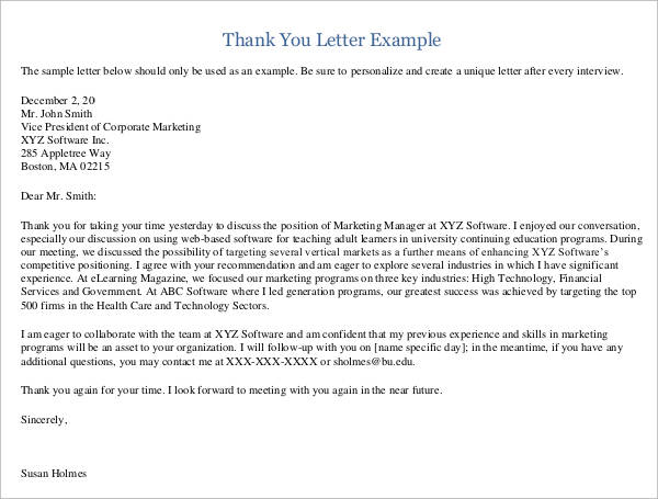 24+ Sample Thank You Letter Templates to Boss \u2013 PDF, DOC, Apple