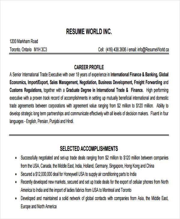 25+ Executive Resumes in PDF Sample Templates - finance executive resume