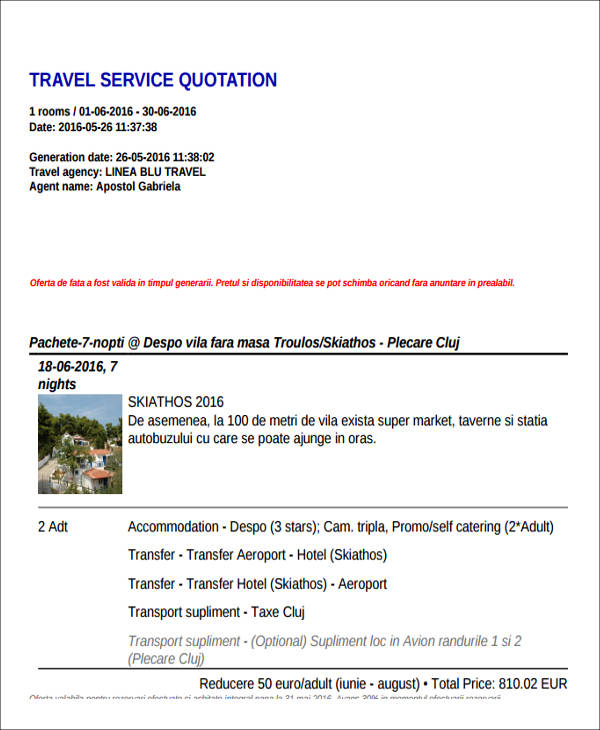 44 Quotation Samples in PDF - travel quotation sample