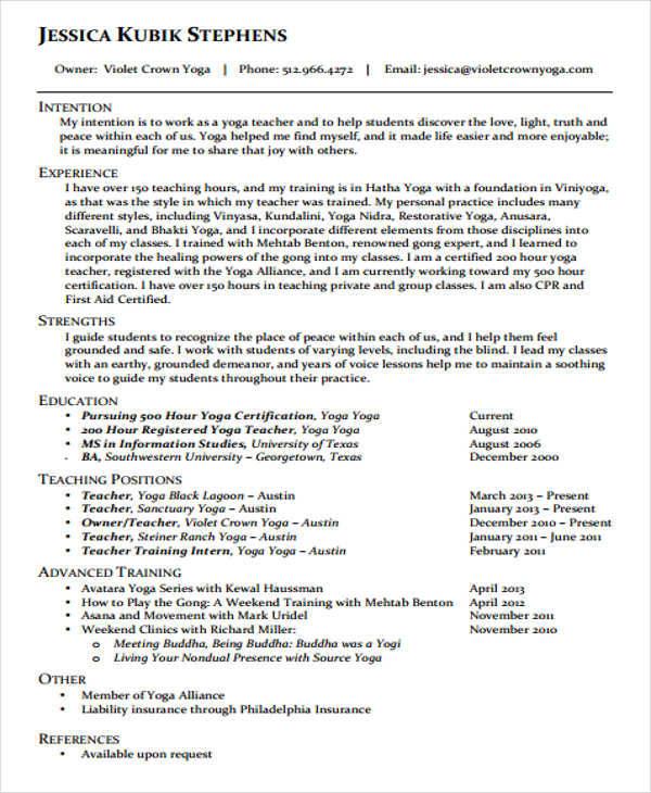 42 Teacher Resume Formats - yoga instructor resume