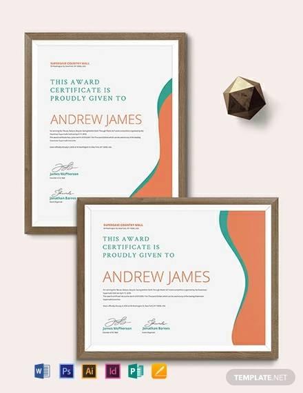 36+ Award Certificate Template - Word, AI, InDesign, PSD Samples